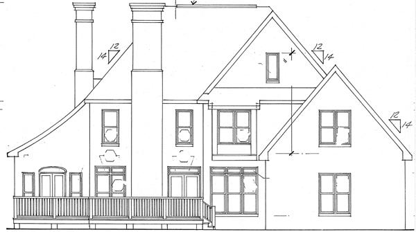 House Plan 24657 | European Style Plan with 2893 Sq Ft, 4 Bedrooms, 4 Bathrooms, 2 Car Garage Rear Elevation