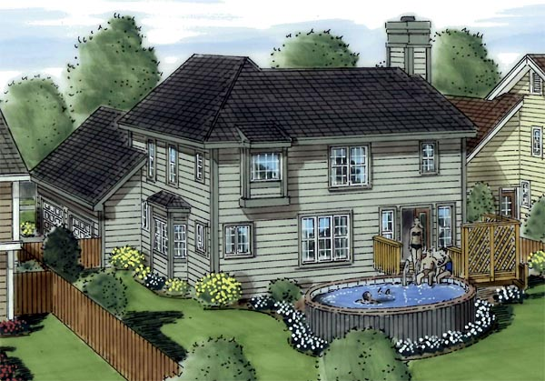 House Plan 24658 | Bungalow, Country, European, Traditional Style House Plan with 1817 Sq Ft, 3 Bed, 3 Bath, 2 Car Garage Rear Elevation