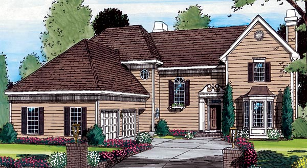 European House Plan 24663 Elevation