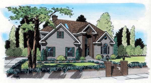House Plan 24664 | Traditional Style Plan with 2628 Sq Ft, 3 Bedrooms, 3 Bathrooms, 2 Car Garage Elevation