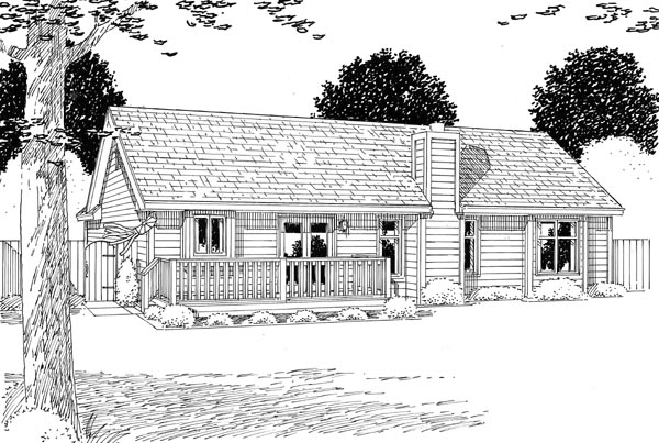 Cottage Country Ranch Southern Traditional House Plan 24700 Rear Elevation
