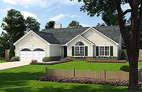 House Plan 24701 | Ranch Traditional Style Plan with 1636 Sq Ft, 3 Bedrooms, 2 Bathrooms, 2 Car Garage Elevation