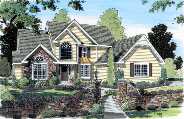 European Traditional House Plan 24702 Elevation