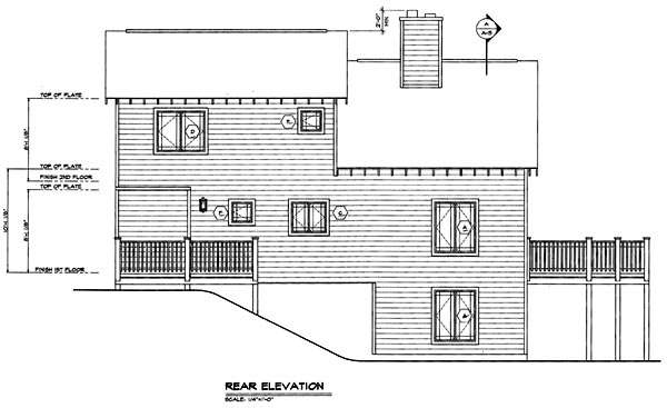 Contemporary , Rear Elevation of Plan 24704