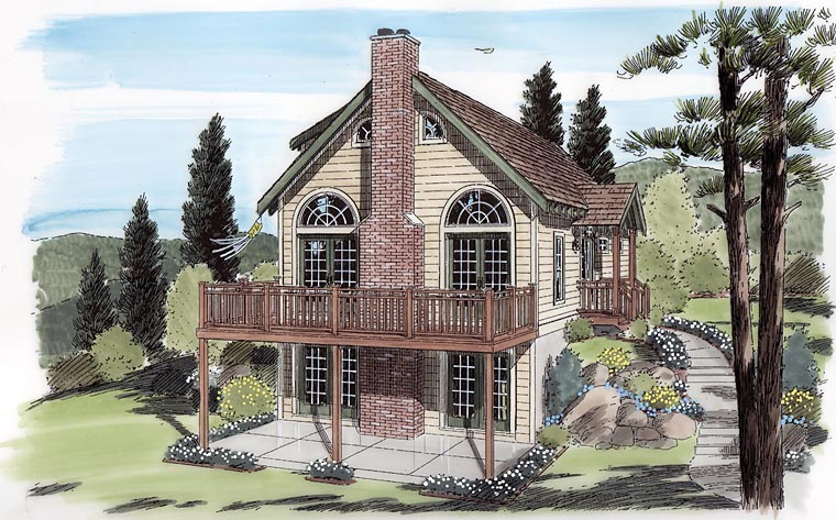 Cabin , Cottage , Traditional , Elevation of Plan 24705