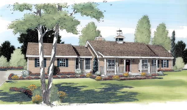 Country Farmhouse Ranch House Plan 24708 Elevation