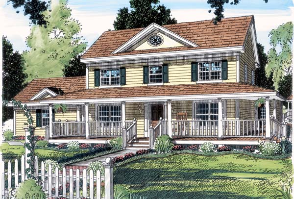 Country Farmhouse Southern House Plan 24713 Elevation