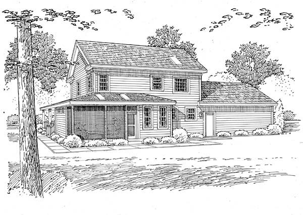 Country Farmhouse Southern House Plan 24713 Rear Elevation