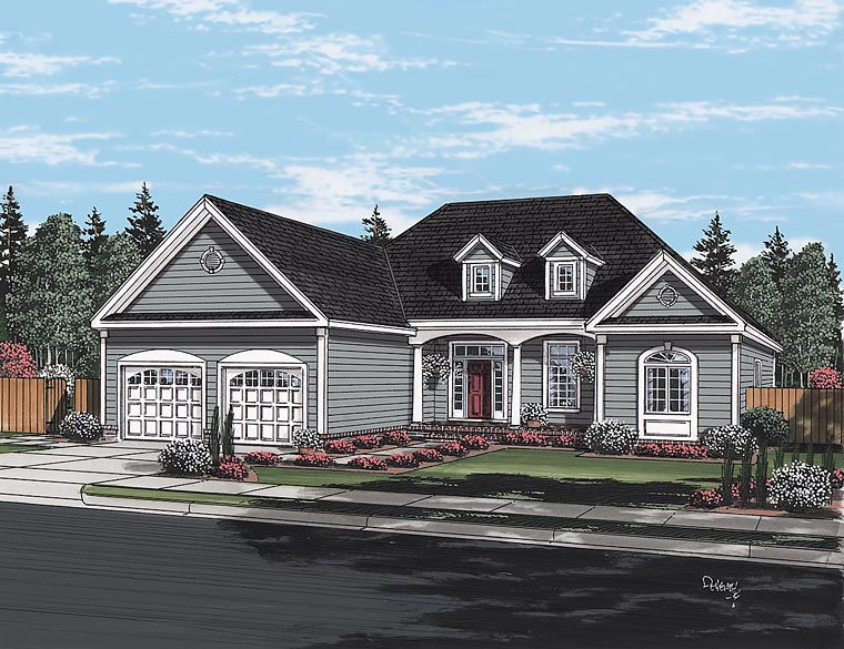 Cape Cod, European, Ranch, Traditional House Plan 24716 with 3 Beds, 2 Baths, 2 Car Garage Elevation