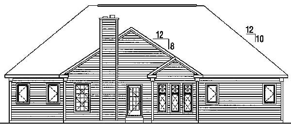 Cape Cod European Ranch Traditional Rear Elevation of Plan 24716