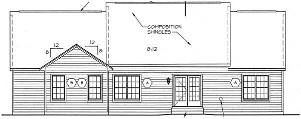 Country Ranch Southern House Plan 24717 Rear Elevation