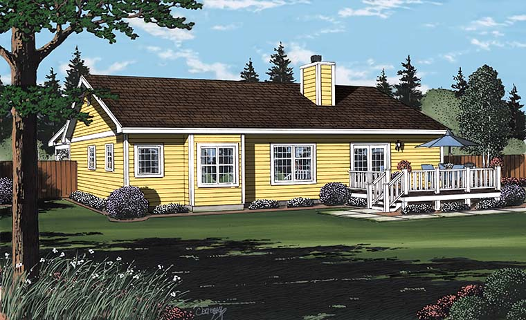 Bungalow Country Southern Traditional House Plan 24721 Rear Elevation