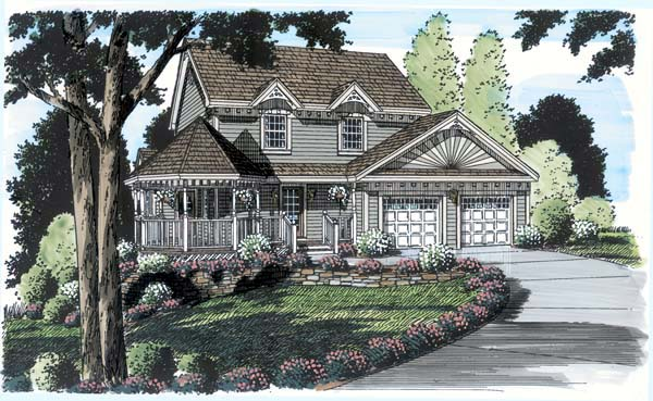 Bungalow, Country, Victorian House Plan 24722 with 4 Beds, 3 Baths, 2 Car Garage Elevation
