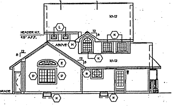 Victorian , Country , Bungalow , Rear Elevation of Plan 24722