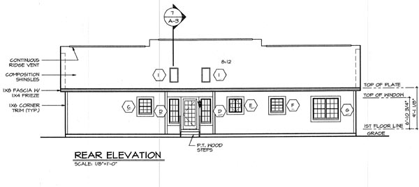 Cottage Country Traditional Rear Elevation of Plan 24723