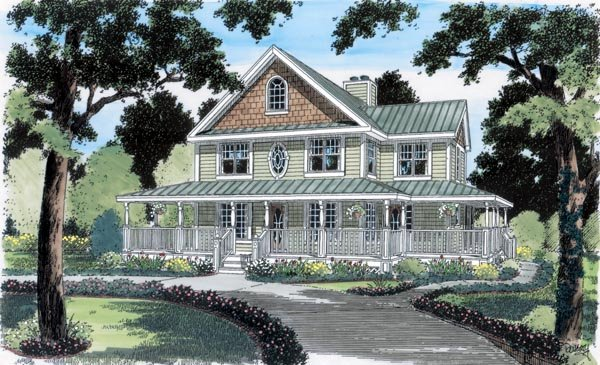 Country Farmhouse Traditional House Plan 24724 Elevation