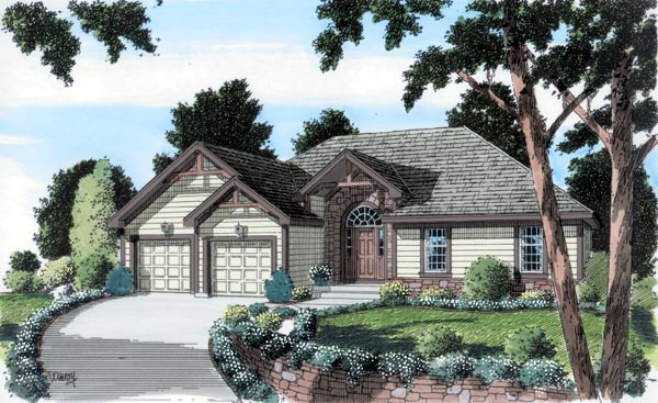 Craftsman Ranch Traditional House Plan 24725 Elevation