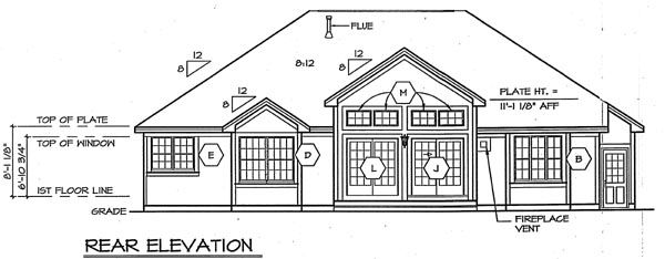 Craftsman Ranch Traditional House Plan 24725 Rear Elevation