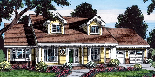 Cape Cod, Country, Traditional House Plan 24726 with 3 Beds , 2 Baths , 2 Car Garage Elevation