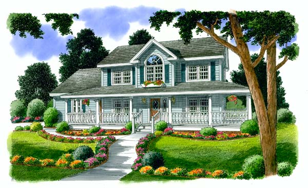 Country Farmhouse Southern House Plan 24732 Elevation