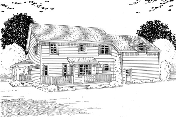 Country Farmhouse Southern House Plan 24732 Rear Elevation