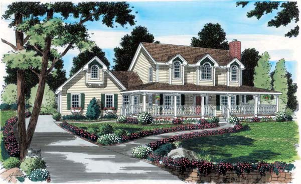 Country Farmhouse Southern Traditional Elevation of Plan 24734
