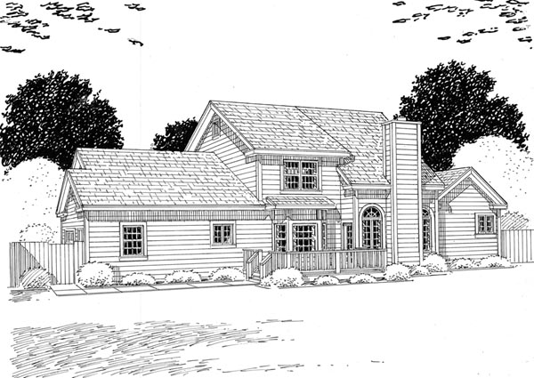 Country Farmhouse Southern Traditional House Plan 24736 Rear Elevation