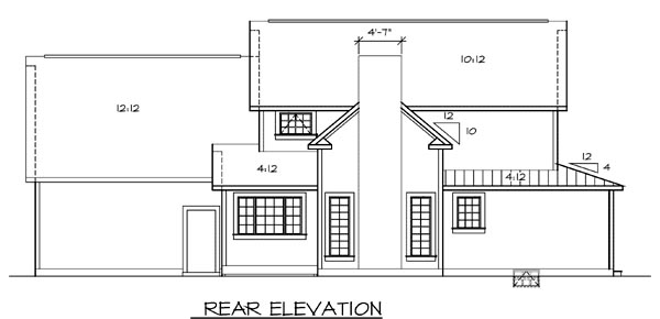 Country Farmhouse Southern House Plan 24737 Rear Elevation