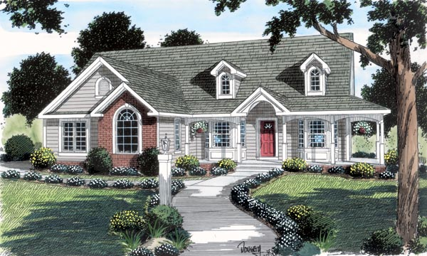Cape Cod Country Ranch Southern Traditional House Plan 24738 Elevation