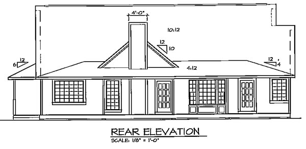 Cape Cod Country Ranch Southern Traditional House Plan 24738 Rear Elevation
