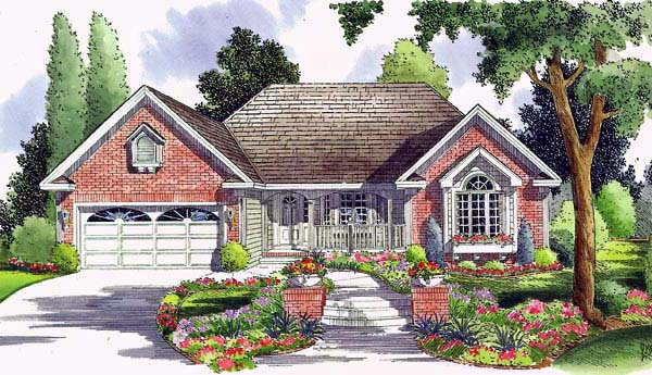 Country, Ranch, Traditional House Plan 24744 with 3 Beds , 2 Baths , 2 Car Garage Elevation
