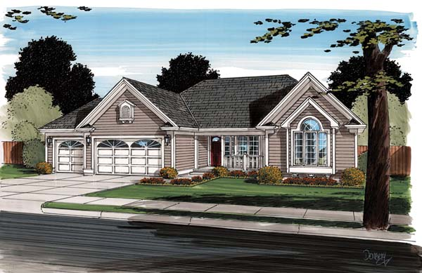 Contemporary , Ranch , Traditional , Elevation of Plan 24745