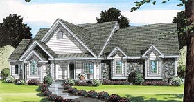 Traditional , Southern , Ranch , European , Country , Bungalow House Plan 24749 with 3 Beds, 2 Baths, 2 Car Garage Elevation