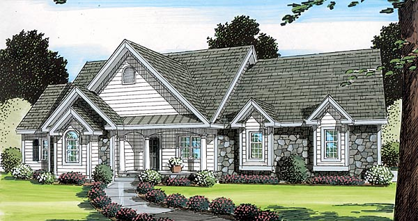 Bungalow Country European One-Story Ranch Southern Traditional Elevation of Plan 24749