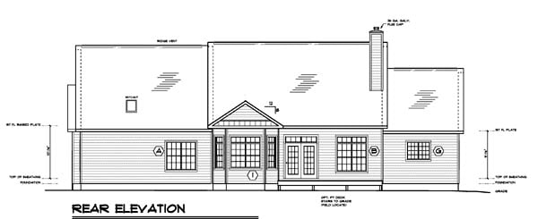 Country Ranch Southern Traditional House Plan 24750 Rear Elevation