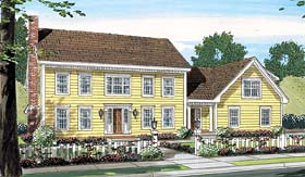 Colonial House Plan 24752 with 3 Beds, 3 Baths, 3 Car Garage Elevation