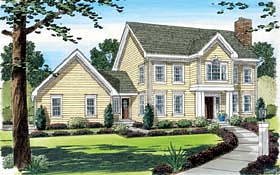 House Plan 24753 | Colonial Style Plan with 2159 Sq Ft, 3 Bedrooms, 3 Bathrooms, 2 Car Garage Elevation