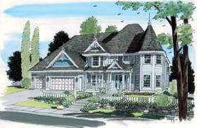 Victorian House Plan 24800 with 5 Beds, 4 Baths, 3 Car Garage Elevation