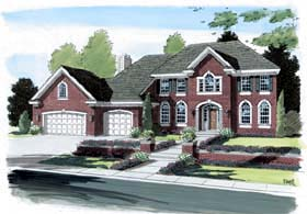 House Plan 24801 | Colonial European Style Plan with 3339 Sq Ft, 4 Bedrooms, 3 Bathrooms, 3 Car Garage Elevation