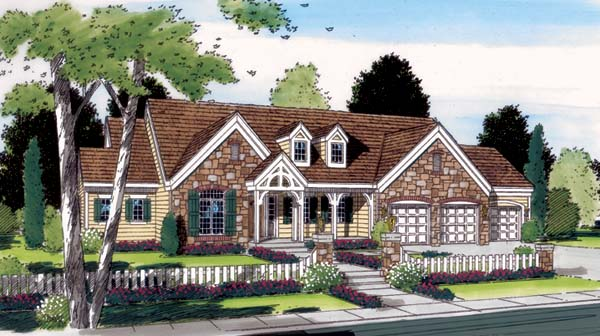 Country European Ranch Traditional House Plan 24803 Elevation