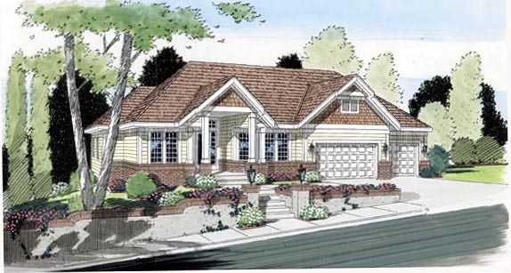 Bungalow Country European Traditional House Plan 24805 Elevation