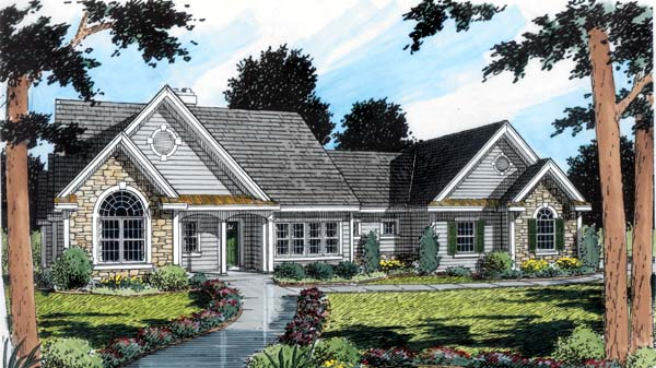 Traditional , European , Bungalow House Plan 24950 with 3 Beds, 3 Baths, 2 Car Garage Elevation