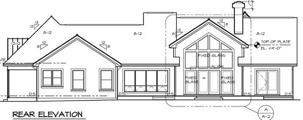 Bungalow European Traditional House Plan 24950 Rear Elevation