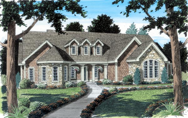 Country, European, Ranch, Traditional House Plan 24952 with 3 Beds , 2 Baths , 2 Car Garage Elevation