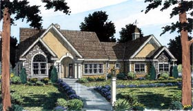 Bungalow , European , Ranch , Traditional House Plan 24953 with 3 Beds, 3 Baths, 2 Car Garage Elevation