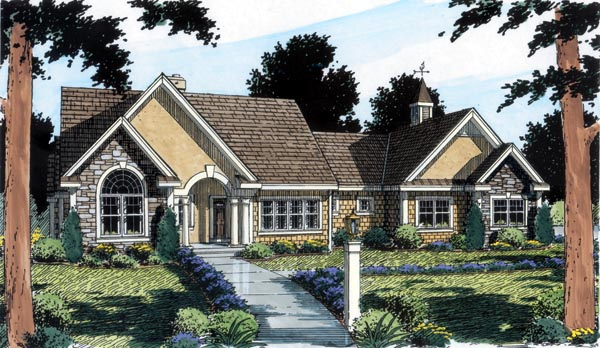 Bungalow , European , Ranch , Traditional , Elevation of Plan 24953