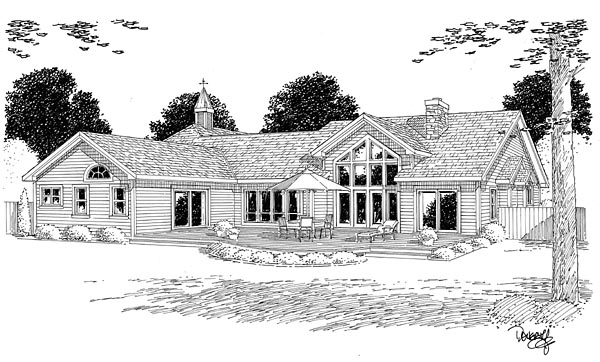 Bungalow , European , Ranch , Traditional , Rear Elevation of Plan 24953