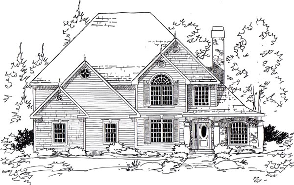 European Traditional House Plan 24958 Elevation
