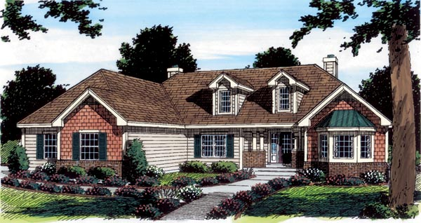 Cape Cod European Ranch Traditional House Plan 24959 Elevation