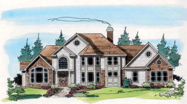 European Traditional House Plan 24962 Elevation